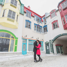 Winter engagement photoshoot in Mont Tremblant